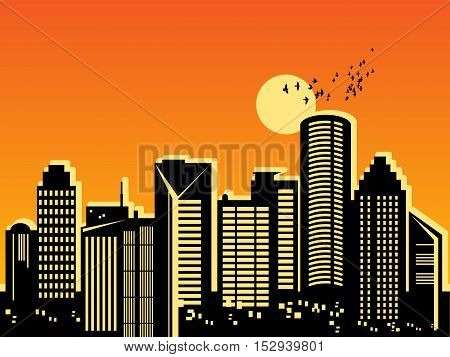 City megapolis skyline at sunset, vector illustration