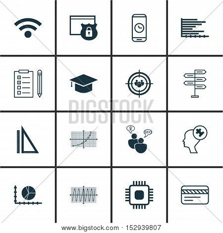Set Of 16 Universal Editable Icons For Statistics, Computer Hardware And School Topics. Includes Ico