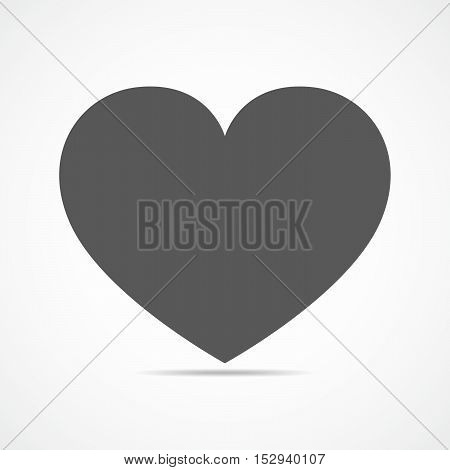 Black heart icon. Simple heart icon with shadow isolated on a gray background. Symbol of the heart. Symbol of the love. Vector illustration.