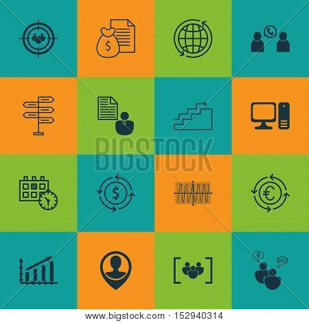 Set Of 16 Universal Editable Icons For Advertising, Computer Hardware And Tourism Topics. Includes I