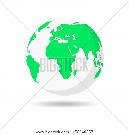Planet Earth icon in flat design. Planet Earth with shadow on a white background. Vector illustration.