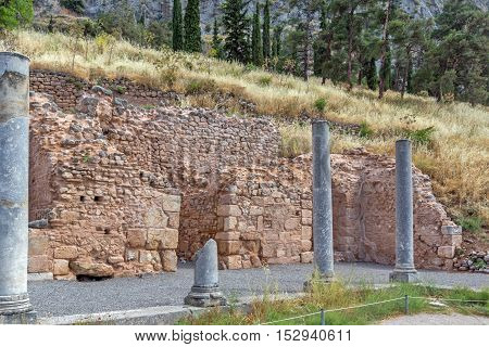 Columns in Ancient Greek archaeological site of Delphi,Central Greece