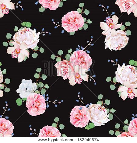 Black background with bouquets of rose peony camellia orchid anemone blue berries and eucaliptis leaves. Seamless vector print.