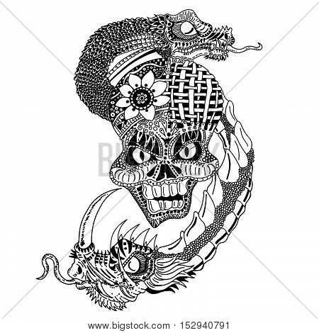 Skull with two dragons pulling away hand draw pen and ink