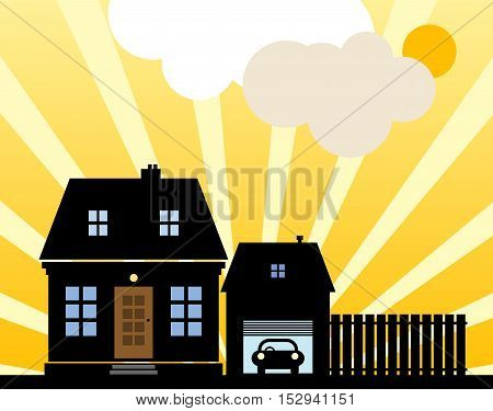 A small cottage in the sunny day, vector illustration