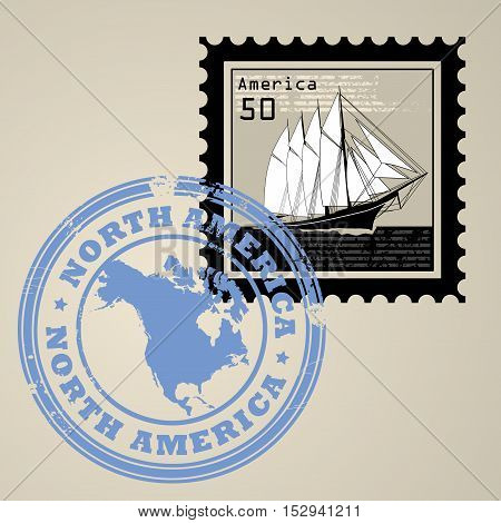Postage stamp with sailing ship and postmark with text North America, vector illustration