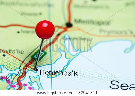 Henichesk pinned on a map of Ukraine
