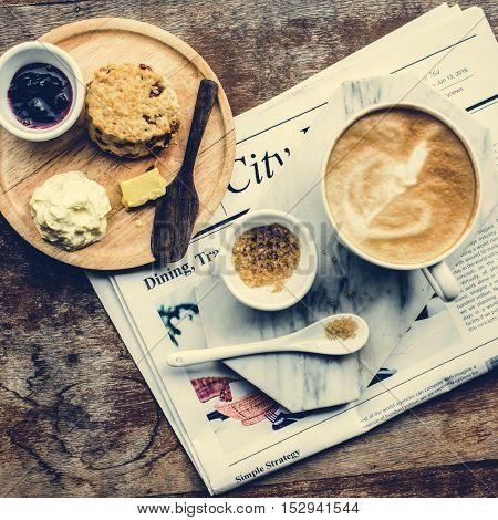 Coffee Shop Cafe Latte Cappuccino Newspaper Concept