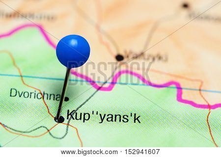 Kupyansk pinned on a map of Ukraine