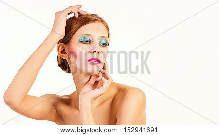 A glamour girl with beauty retouch against neutral background