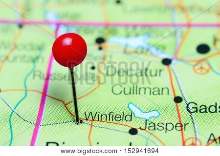 Winfield pinned on a map of Alabama, USA