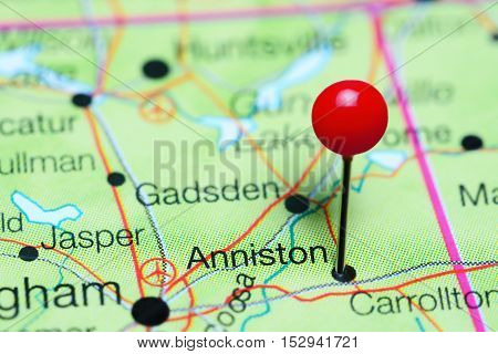 Anniston pinned on a map of Alabama, USA