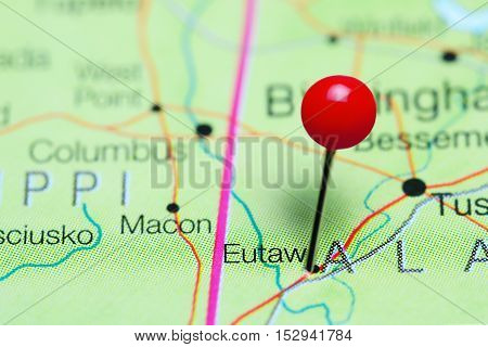 Eutaw pinned on a map of Alabama, USA
