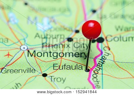 Eufaula pinned on a map of Alabama, USA