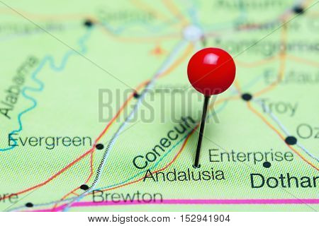Andalusia pinned on a map of Alabama, USA