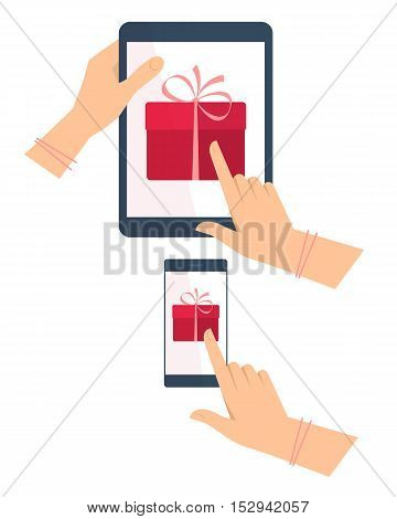 Hands with tablet pc mobile phone with gift boxes on the screen. Vector flat illustration of hands portable pad phone with celebration christmas new year birthday present. Vector concept design.