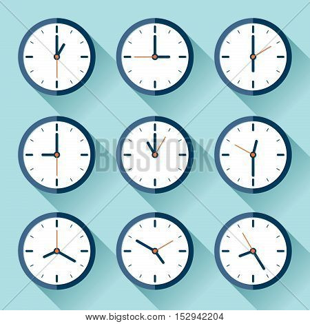 Clock icon set in flat style, nine timer on color background. Vector design element