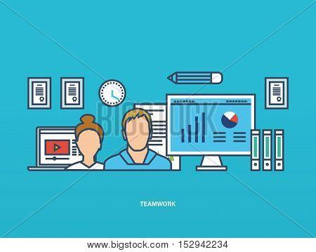 Concept of illustration - teamwork, joint planning, management and implementation tasks. Vector illustration for website, banner, printed materials and mobile app.