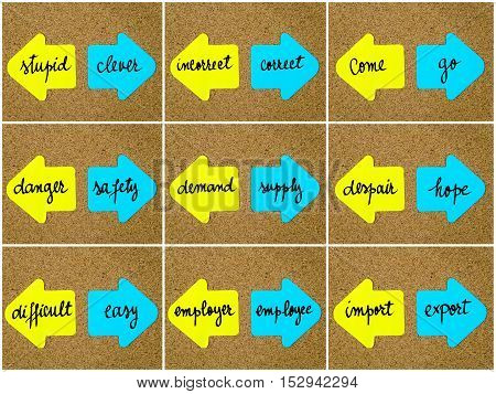 Antonym Concepts Written On Opposite Arrows