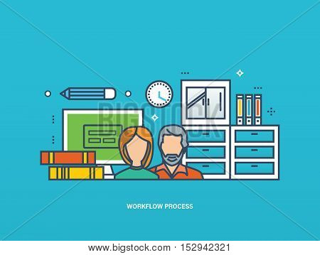 Concept of illustration - collaboration and workflow, planning, management and implementation of joint tasks. Vector illustration for website, banner, printed materials and mobile app.