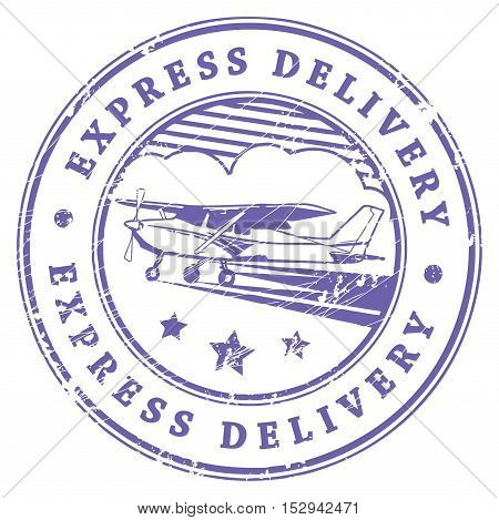Grunge rubber stamp with plane in the middle and the text express delivery written inside the stamp, vector illustration