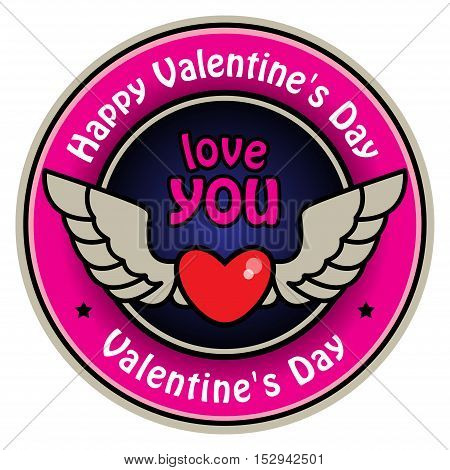 Color label with heart, wings and the text Happy Valentine's Day written inside, vector illustration