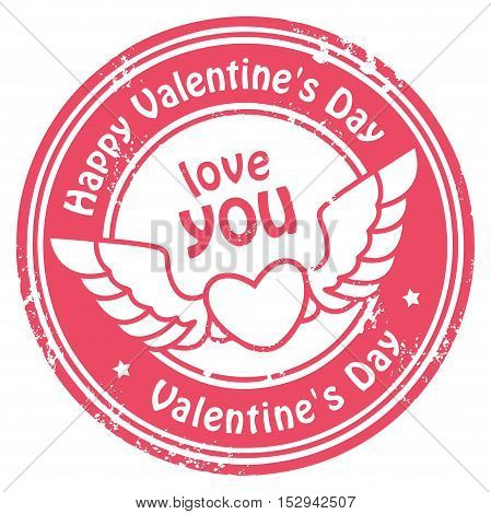 Grunge rubber stamp with heart, wings and the text Happy Valentine's Day written inside, vector illustration