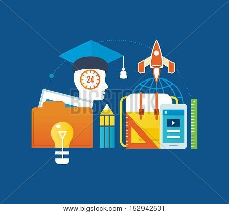 Concept of illustration - education and distance learning, online courses, motivation, commitment, success and leadership. Vector illustration for website, banner, printed materials and mobile app.