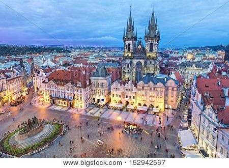 Buildings on the Old Town square (Staromestske Namesti) in the evening Prague Czech Republic