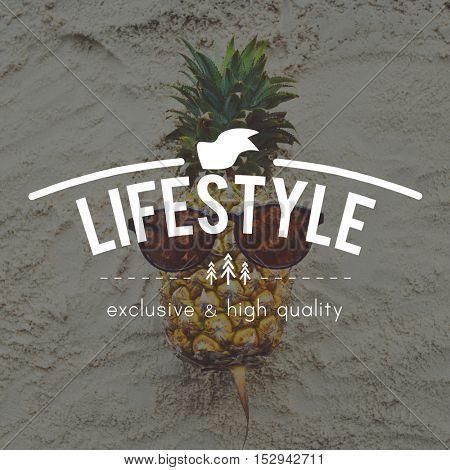 Summer Break Fun Pineapple Words Concept