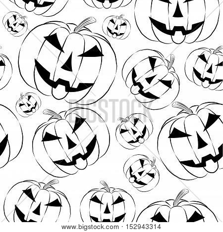 Pumpkin lantern icon in outline style seamless wallpaper on white background. Halloween symbol vector illustration