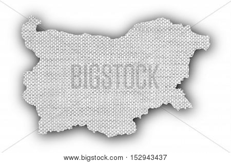 Map of Bulgaria on old linen cloth
