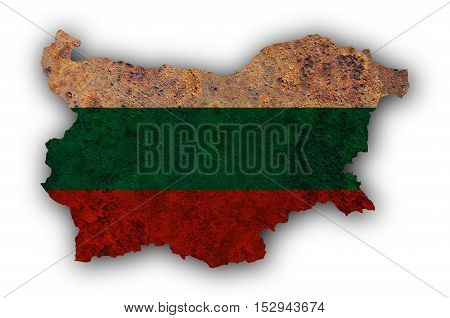 Map and flag of Bulgaria on rusty metal
