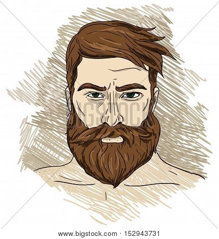 Portrait of imposing man with beard, vector illustration