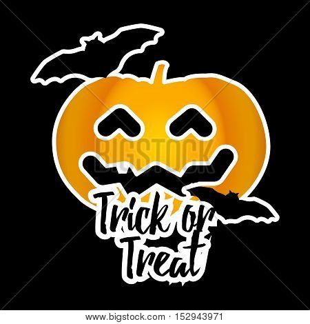 Halloween sticker with pumpkin and bats. Trick or treat. Vector background.