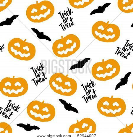 Seamless pattern for Halloween with pumpkins and bats. Vector background.