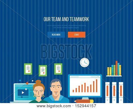 Concept of illustration - teamwork, our team, joint planning, management and implementation tasks. Vector illustration for website, banner, printed materials and mobile app.