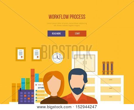 Concept of illustration - collaboration and workflow process, planning, management and implementation of joint tasks. Vector illustration for website, banner, printed materials and mobile app.