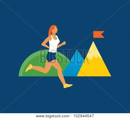 The illustration on the theme of fitness and an active lifestyle. Girl jogging on the outdoors. Running woman