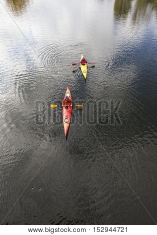 Kayaking On The River.