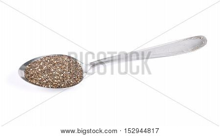 Colorful and crisp image of chia seeds on spoon