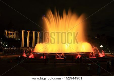 Colored Light and water at the Magic Fountain of Montjuic