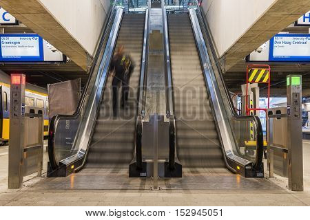 Utrecht The Netherlands - October 12 2016: Central hall of NS Central Railway Station Utrecht with escalator The Netherlands.
