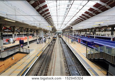London United Kingdom - April 25 2016: Platforms in Paddington railway station. Paddington station opened May 29 1854