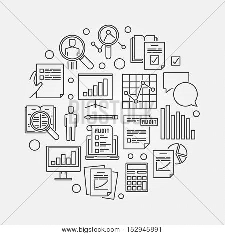 Audit and financial analysis illustration. Vector business analytics concept symbol in thin line style