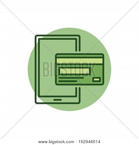 Mobile payment colorful icon. Vector mobile banking concept sign. Smartphone with credit card symbol or logo element