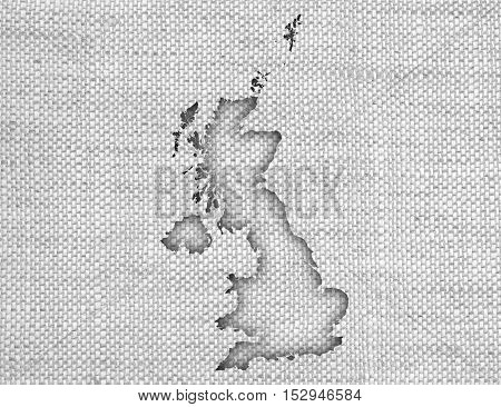Map Of Great Britain On Linen,