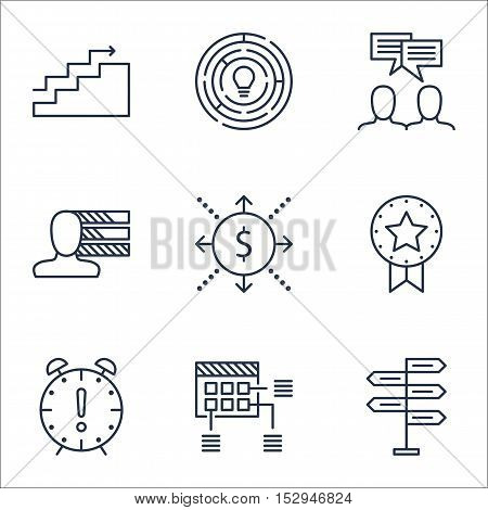 Set Of Project Management Icons On Opportunity, Present Badge And Innovation Topics. Editable Vector