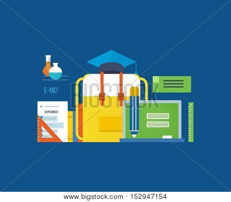 Concept of illustration - modern education, analysis and research, training and the acquisition of knowledge. Vector illustrations are shown on dark background.