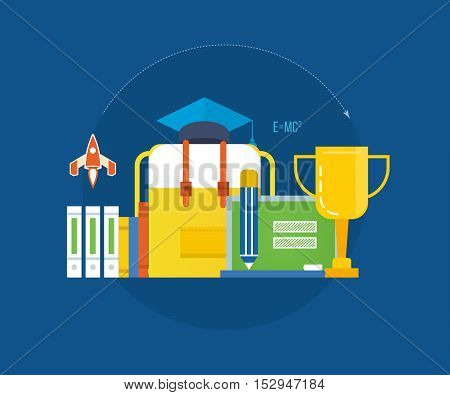 Concept of illustration - modern education, success and leadership, teaching and learning. Vector illustrations are shown on dark background. Can be used in the form of brochures, flyers.
